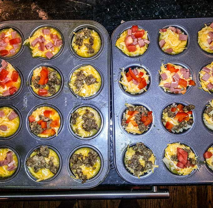 Eggs in Muffin Tin with all kinds of different flavors