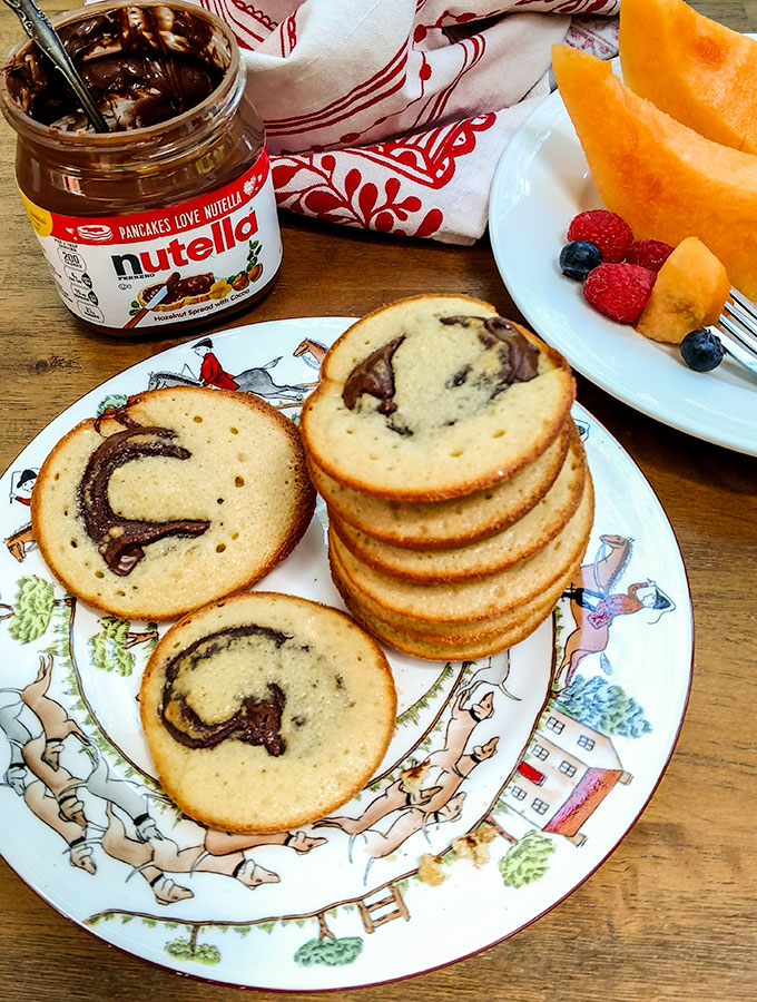 Baked Nutella pancakes are portable and a great grab and go breakfast