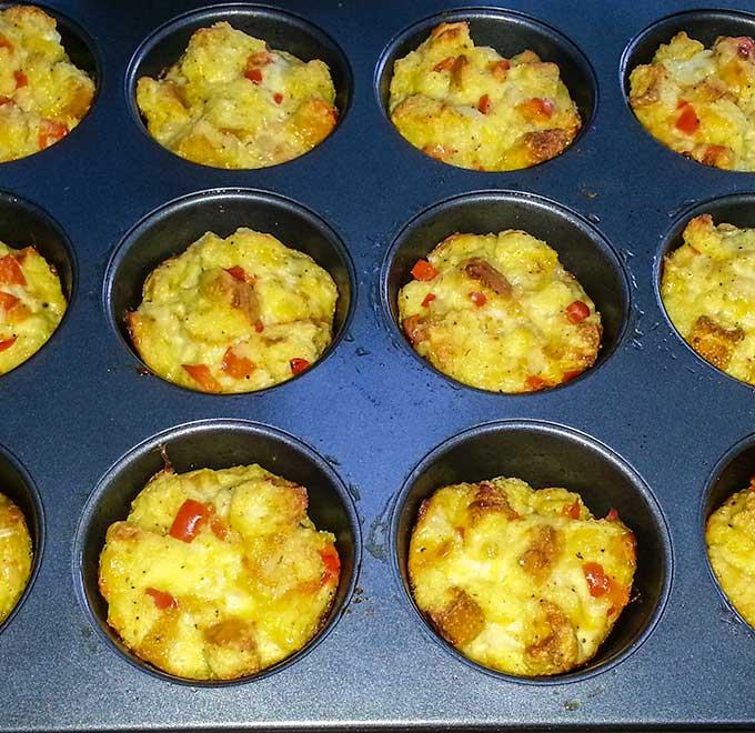 Strata in muffin tin
