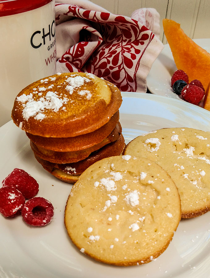 Pancakes with Greek Yogurt baked inside makes a great grab and go breakfast