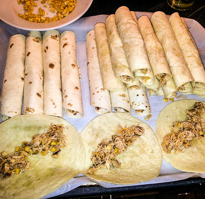 Rolled chicken taquitos