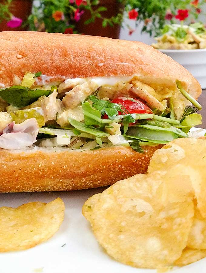 Chicken salad with curry and mango chutney makes a great picnic sandwich