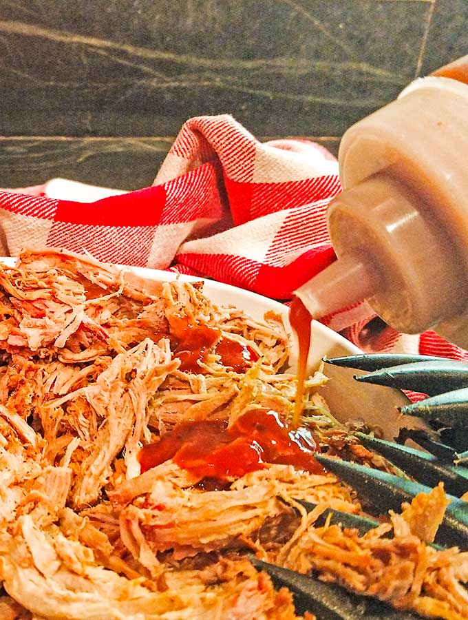 Shredded pulled pork with barbecue sauce