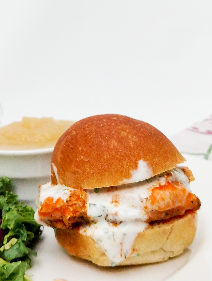 Buffalo chicken sliders recipe with ranch dressing and sides