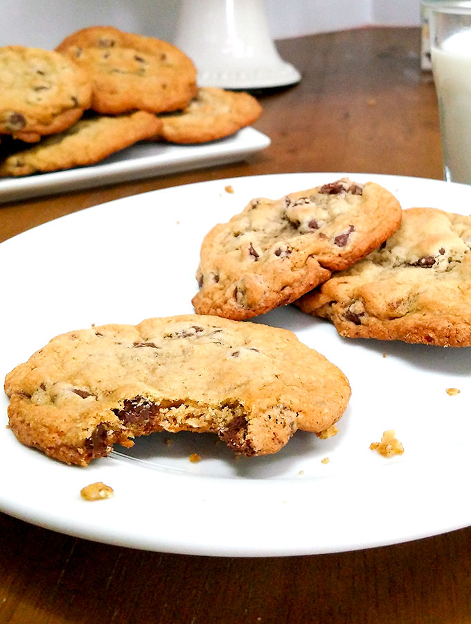 Classic Chocolate Chip Cookies Piled On a Plate