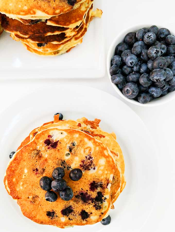 Buttermilk blueberry pancakes with extra blueberries