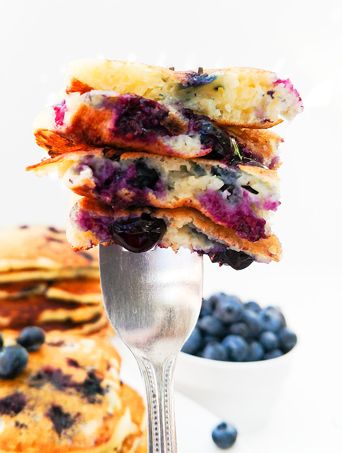 Buttermilk blueberry pancakes on a fork